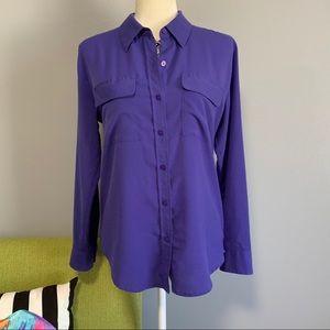 Apt 9 Purple Button Down Blouse B5